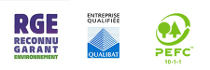 Labels: Qualibat, rge et pefc.