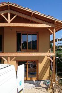 Menuiserie d'une maison ossature bois.